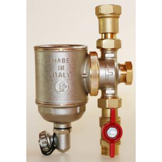"Magnetický filtr Giacomini R146C - 3/4"" (DN20) s kulovým kohoutem R254P 3/4""F x 3/4""M a teleskopickým šroubením R176P 3/4"""