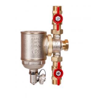 """Magnetický filtr Giacomini R146C - 3/4"""" (DN20) + 2ks kulový kohout R254P s převlečnou maticí - 3/4""""M x 3/4""""M"""